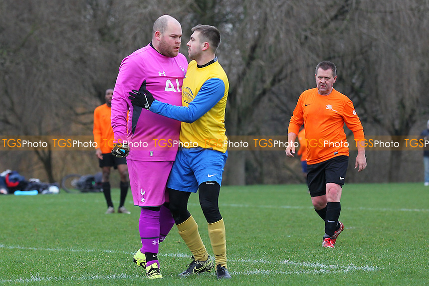 Hackney Allstars (orange) vs FC Niva, Hackney & Leyton Sunday League Jack Walpole Cup Football at Hackney Marshes, Hackney, England on 17/01/2016