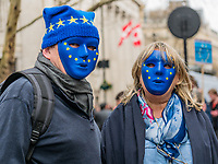 London, UK - March 23 2019: the peoples with EU mask flag during the demonstration the people Brexit march for people's vote protest. Photo Adamo Di Loreto/BuenaVista*photo