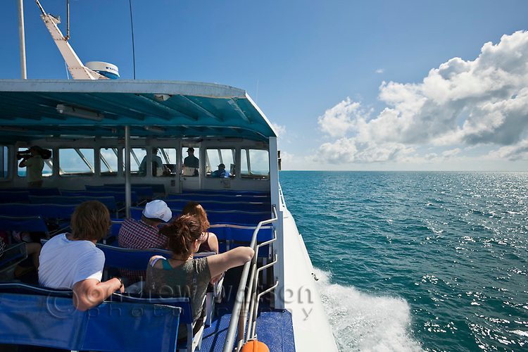 Tourist boat heading out to Green Island, off the coast of Cairns, Queensland, Australia