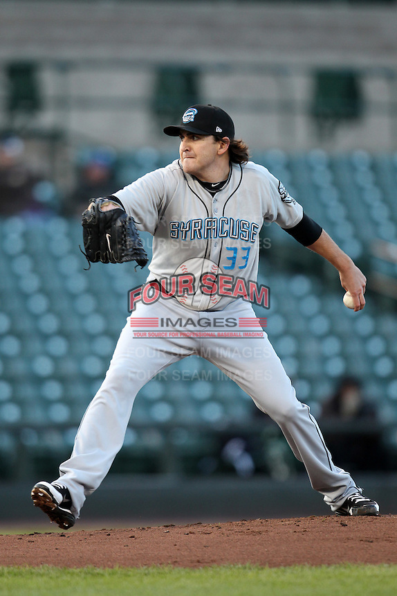 Syracuse Chiefs pitcher John Lannan #33 delivers a pitch during a game against the Rochester Red Wings at Frontier Field on April 25, 2012 in Rochester, New York.  Syracuse defeated Rochester 10-5.  (Mike Janes/Four Seam Images)