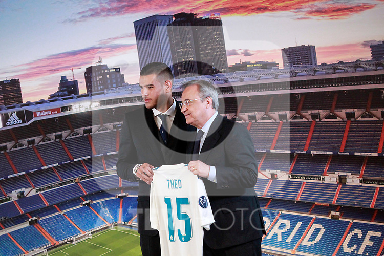 Real Madrid's new player Theo Hernandez (l) with the President Florentino Perez during his official presentation. July 10, 2017. (ALTERPHOTOS/Acero)