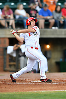 Greenville Reds Tyler Callihan (2) swings at a pitch during a game against the Elizabethton Twins at Pioneer Park on June 29, 2019 in Greeneville, Tennessee. The Twins defeated the Reds 8-1. (Tony Farlow/Four Seam Images)