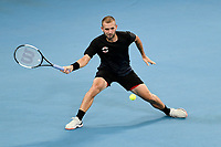 9th January 2020; Sydney Olympic Park Tennis Centre, Sydney, New South Wales, Australia; ATP Cup Australia, Sydney, Day 7; Great Britain versus Australia; Alex de Minaur of Australia versus Daniel Evans of Great Britain; Daniel Evans of Great Britain hits a forehand to Alex de Minaur of Australia - Editorial Use