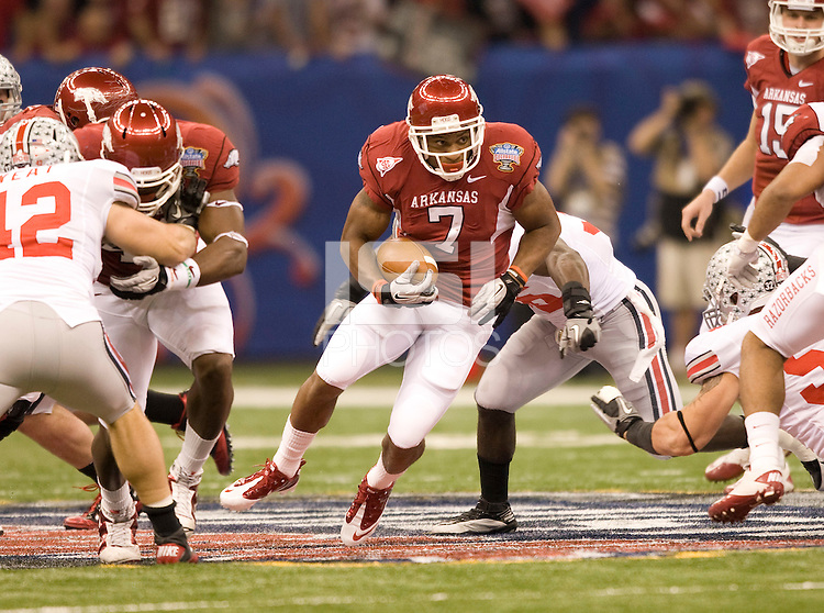 Knile Davis of Arkansas runs the ball during the game against Ohio State during 77th Annual Allstate Sugar Bowl Classic at Louisiana Superdome in New Orleans, Louisiana on January 4th, 2011.  Ohio State defeated Arkansas, 31-26.