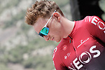 Tao Geoghegan Hart (GBR) Team Ineos at sign on before the start of Stage 9 of La Vuelta 2019 running 99.4km from Andorra la Vella to Cortals d'Encamp, Spain. 1st September 2019.<br /> Picture: Colin Flockton | Cyclefile<br /> <br /> All photos usage must carry mandatory copyright credit (© Cyclefile | Colin Flockton)