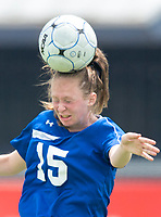 NWA Democrat-Gazette/CHARLIE KAIJO Rogers High School defender Hannah West (15) heads the ball during the semifinals of the 7A Girls State Soccer Tournament, Saturday, May 12, 2018 at Whitey Smith Stadium at Rogers High School in Rogers. Rogers advanced to the finals when midfielder Skylurr Patrick (3) scored both of Rogers' goals defeating Southside High School, 2-1.