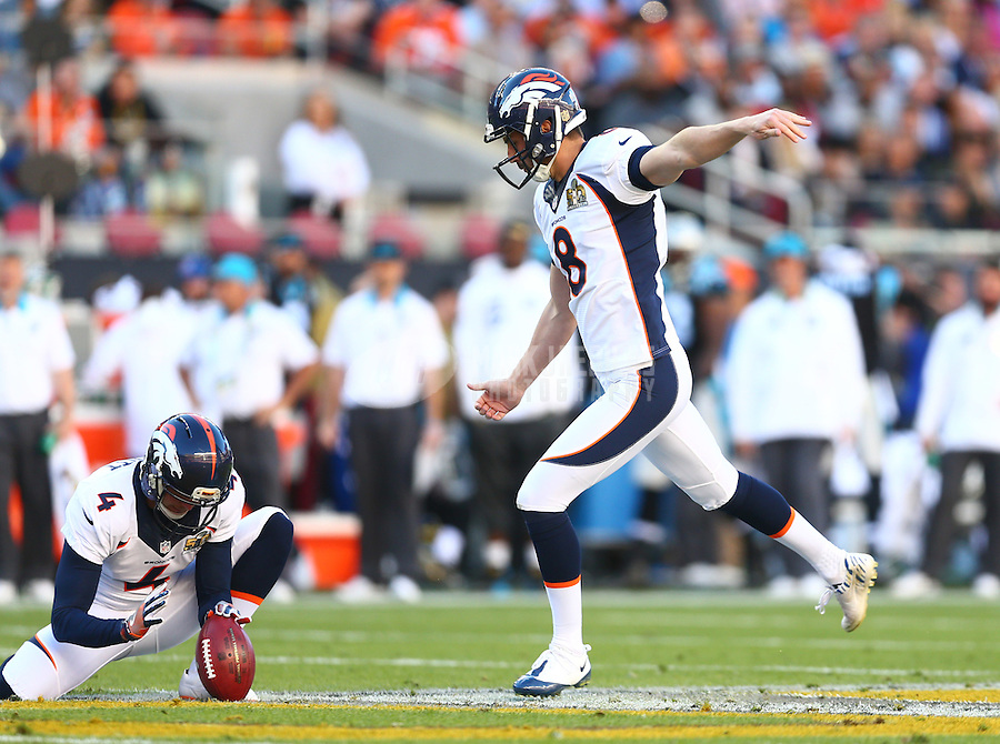 Feb 7, 2016; Santa Clara, CA, USA; Denver Broncos kicker Brandon McManus (8) against the Carolina Panthers in Super Bowl 50 at Levi's Stadium. Mandatory Credit: Mark J. Rebilas-USA TODAY Sports