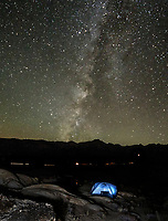 The Milky Way appears over the Sierra Nevada Mountain Range near Lone Pine, California