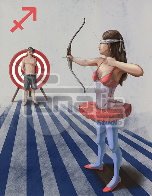 Illustrative image of woman targeting arrow at man representing Sagittarius sign