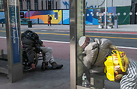New York, New York City, during the time of Coronavirus. Where to house the homeless has become a huge problem during the pandemic. Nervous about staying in the shelters thousands have taken to living in the streets.