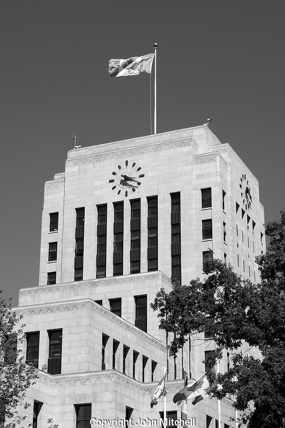 Black and white image of the Art Deco style Vancouver City Hall built in 1936, Vancouver, BC, Canada