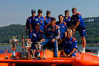 Winner J.W. Myers and the Elam crew with their hardware..Madison Regatta, Madison Indiana July 3, 2005.Photo Credit: ©F.Peirce Williams 2005