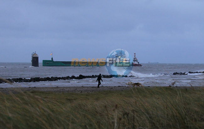"Tugboat ""Masterman"" helping the MV Arklow Valour after she ran aground at the mouth of the River Boyne at Mornington, Co. Louth on Friday 14th December 2018.<br /> Picture:  Thos Caffrey / www.newsfile.ie"
