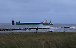 """Tugboat """"Masterman"""" helping the MV Arklow Valour after she ran aground at the mouth of the River Boyne at Mornington, Co. Louth on Friday 14th December 2018.<br /> Picture:  Thos Caffrey / www.newsfile.ie"""