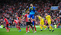 Lincoln City's Josh Vickers claims a high ball <br /> <br /> Photographer Chris Vaughan/CameraSport<br /> <br /> The EFL Sky Bet League One - Lincoln City v Fleetwood Town - Saturday 31st August 2019 - Sincil Bank - Lincoln<br /> <br /> World Copyright © 2019 CameraSport. All rights reserved. 43 Linden Ave. Countesthorpe. Leicester. England. LE8 5PG - Tel: +44 (0) 116 277 4147 - admin@camerasport.com - www.camerasport.com