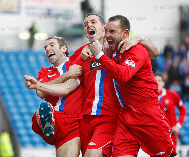 David Weir celebrates his goal with Kris Boyd and Kirk Broadfoot