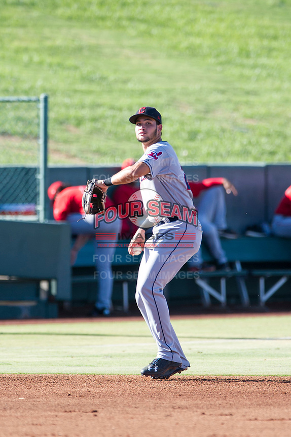AZL Indians third baseman Henry Pujols (28) warms up between innings during a game against the AZL Angels on August 7, 2017 at Tempe Diablo Stadium in Tempe, Arizona. AZL Indians defeated the AZL Angels 5-3. (Zachary Lucy/Four Seam Images)