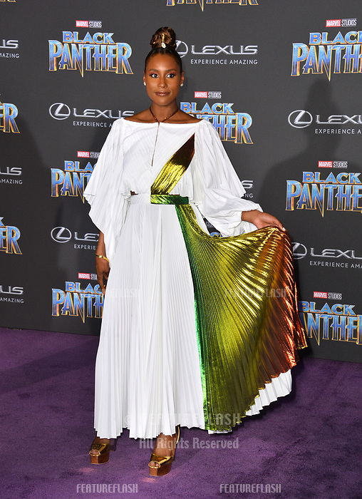 Issa Rae at the world premiere for &quot;Black Panther&quot; at the Dolby Theatre, Hollywood, USA 29 Jan. 2018<br /> Picture: Paul Smith/Featureflash/SilverHub 0208 004 5359 sales@silverhubmedia.com