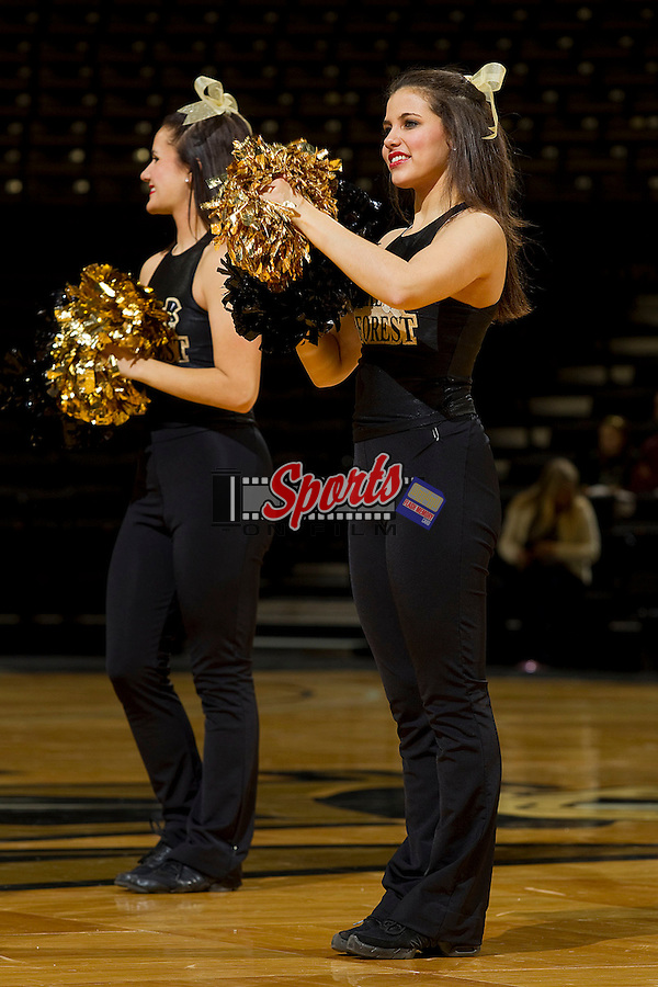 The Wake Forest Demon Deacons dance team entertains the crowd during a timeout in the game against the Clemson Tigers at the Lawrence Joel Coliseum on January 23, 2011 in Winston-Salem, North Carolina.  The Tigers defeated the Demon Deacons 77-73 in overtime.  Photo by Brian Westerholt / Sports On Film