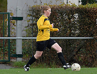 20151128 - PITTEM , BELGIUM : Tiffany Declercq pictured during a soccer match between the women teams of DVK Egem Ladies and KVK Svelta Melsele  , during the eleventh matchday in the Second League - Tweede Nationale season, Saturday 28 November 2015 . PHOTO DAVID CATRY