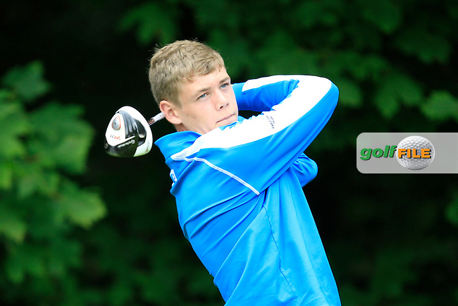 Cathal Nolan (Galway) on the 9th tee during Round 3 of the Ulster Boys' Amateur Open Championship in Clandeboye Golf Club on Thursday 10th July 2014.<br /> Picture:  Thos Caffrey / www.golffile.ie