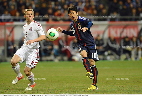 Aleksandrs Cauna (LAT), Shinji Kagawa (JPN),.FEBRUARY 6, 2013 - Football / Soccer :.Kirin Challenge Cup 2013 match between Japan 3-0 Latvia at Home's Stadium Kobe in Hyogo, Japan. (Photo by Takamoto Tokuhara/AFLO)