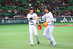 (L to R) .Kenta Maeda (JPN), .Hayato Sakamoto (JPN), .MARCH 3, 2013 - WBC : .2013 World Baseball Classic .1st Round Pool A .between Japan 5-2 China .at Yafuoku Dome, Fukuoka, Japan. .(Photo by YUTAKA/AFLO SPORT)