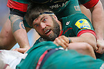 Geoff Parling of Leicester Tigers in the thick of the action - Rugby Union - Aviva Premiership - Leicester Tigers vs Sale Sharks - Season 2014/15 - 28th February 2015 - Photo Malcolm Couzens/Sportimage