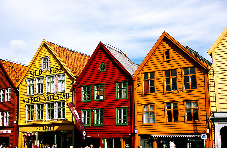 Norway: Bergen, Historic wooden warehouses, Bryggen.  Photo: eurail104.Photo copyright Lee Foster, 510/549-2202, lee@fostertravel.com, www.fostertravel.com