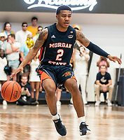WASHINGTON, DC - NOVEMBER 16: Isaiah Burke #2 of Morgan State moves up court during a game between Morgan State University and George Washington University at The Smith Center on November 16, 2019 in Washington, DC.