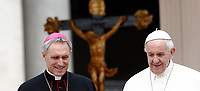 Papa Francesco e Monsignor Georg Gaenswein al termine dell'udienza generale del mercoledi' in Piazza San Pietro, Citta' del Vaticano, 28 giugno 2017.<br /> Pope Francis and Monsignor Georg Gaenswein leave at the end of his weekly general audience in St. Peter's Square at the Vatican, on June 28, 2017.<br /> UPDATE IMAGES PRESS/Isabella Bonotto<br /> <br /> STRICTLY ONLY FOR EDITORIAL USE