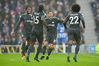 Willian of Chelsea (22) Celebrates scoring his sides second goal  during the Premier League match between Brighton and Hove Albion and Chelsea at the American Express Community Stadium, Brighton and Hove, England on 20 January 2018. Photo by Edward Thomas / PRiME Media Images.