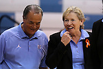 05 November 2014: UNC head coach Sylvia Hatchell (right) with assistant coach Bill Lee (left). The University of North Carolina Tar Heels hosted the Carson-Newman University Eagles at Carmichael Arena in Chapel Hill, North Carolina in an NCAA Women's Basketball exhibition game. UNC won the game 88-27.