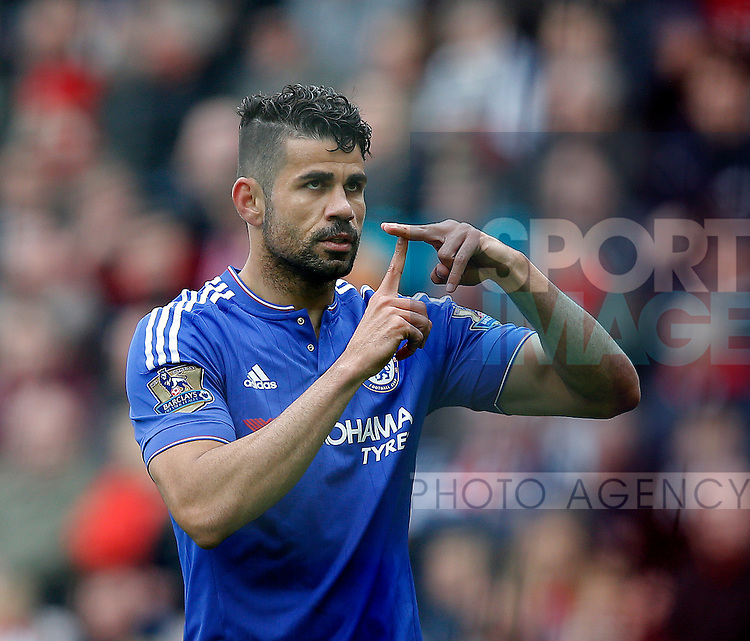 Diego Costa of Chelsea celebrates the first goal during the Barclays Premier League match at the Stadium of Light, Sunderland. Photo credit should read: Simon Bellis/Sportimage