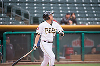 Alex Yarbrough (9) of the Salt Lake Bees at bat against the Tacoma Rainiers in Pacific Coast League action at Smith's Ballpark on May 7, 2015 in Salt Lake City, Utah. The Bees defeated the Rainiers 11-4 in the completion of the game that was suspended due to weather on May 6, 2015.(Stephen Smith/Four Seam Images)