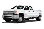 Stock pictures of low aggressive front three quarter view of a 2019 Chevrolet Silverado-3500 WT 4 Door Pick Up