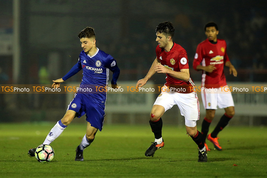 Mason Mount of Chelsea takes on the Manchester United defence during Chelsea Under-23 vs Manchester United Under-23, Premier League 2 Football at the EBB Stadium on 9th December 2016