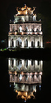 Tortoise Tower At Night<br /> The historic Tortoise Tower, Thap Rua, reflected in Hoan Kiem Lake at night, Hanoi, Vietnam