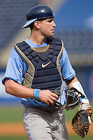 Catcher Mark Fleury #8 of the North Carolina Tar Heels on defense versus the Clemson Tigers at Durham Bulls Athletic Park May 23, 2009 in Durham, North Carolina. The Tigers defeated the Tar Heals 4-3 in 11 innings.  (Photo by Brian Westerholt / Four Seam Images)