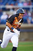 Wilmington Blue Rocks designated hitter Joshua Banuelos (13) runs to first base during a game against the Lynchburg Hillcats on June 3, 2016 at Judy Johnson Field at Daniel S. Frawley Stadium in Wilmington, Delaware.  Lynchburg defeated Wilmington 16-11 in ten innings.  (Mike Janes/Four Seam Images)