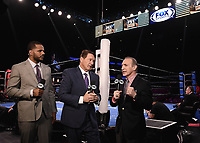 LOS ANGELES - JANUARY 13:  Anthony Dirrell, Chris Myers and Ray Mancini at PBC on Fox - Jose Uzcategui vs Caleb Plant at the Microsoft Theater on January 13, 2019 in Los Angeles, California. (Photo by Scott Kirkland/Fox/PictureGroup)