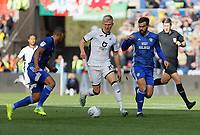 Sam Surridge of Swansea City (C) in action during the Sky Bet Championship match between Swansea City and Cardiff City at the Liberty Stadium, Swansea, Wales, UK. Sunday 27 October 2019