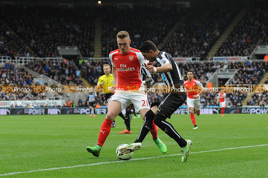 Ayoze Pérez of Newcastle United battles with Calum Chambers of Arsenal - Newcastle United vs Arsenal - Barclays Premier League Football at St James Park, Newcastle upon Tyne - 21/03/15 - MANDATORY CREDIT: Steven White/TGSPHOTO - Self billing applies where appropriate - contact@tgsphoto.co.uk - NO UNPAID USE