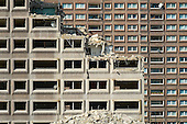 Demolition of Fielding  House, an 18 story block on South Kilburn Estate, Brent, by Network Housing as part of a £600 million estate regeneration programme.
