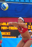 Aug. 10, 2008; Beijing, CHINA; Misty May-Treanor (USA) sets the ball against Japan during the womens beach volleyball at the Chaoyang Park Beach Volleyball Ground in the 2008 Beijing Olympic Games. The United States won the match. Mandatory Credit: Mark J. Rebilas-