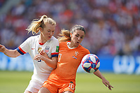 DECINES-CHARPIEU, FRANCE - JULY 07: Samantha Mewis #3, Danielle van de Donk #10 during the 2019 FIFA Women's World Cup France Final match between Netherlands and the United States at Groupama Stadium on July 07, 2019 in Decines-Charpieu, France.