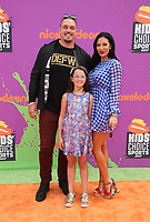 LOS ANGELES, CA July 13- Derek Wolfe, Abigail Burrows, Tatum Wolfe, At Nickelodeon Kids' Choice Sports Awards 2017 at The Pauley Pavilion, California on July 13, 2017. Credit: Faye Sadou/MediaPunch