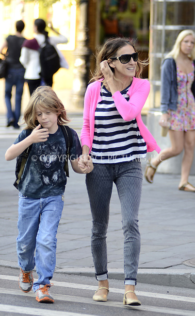 WWW.ACEPIXS.COM......September 13, 2012, New York City, NY.....Sarah Jessica Parker picking her son up from school on September 13, 2012 in New York City.......By Line: Curtis Means/ACE Pictures....ACE Pictures, Inc..Tel: 646 769 0430..Email: info@acepixs.com