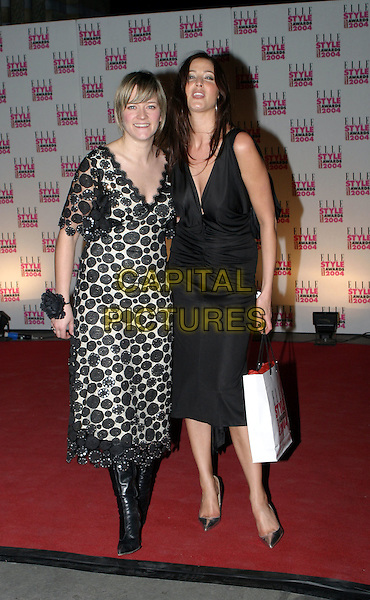 EDITH BOWMAN & LISA SNOWDON.Elle Style Awards 2004 at the Natural History Museum.16 February 2004.full length, full-length, little black dress, spotty print dress.www.capitalpictures.com.sales@capitalpictures.com.© Capital Pictures.