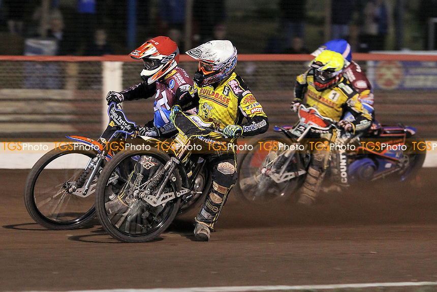 Heat 15: Peter Karlsson (red), Davey Watt (blue), Scott Nicholls (white) and Chris Harris - Lakeside Hammers vs Coventry Bees - Sky Sports Elite League Speedway at Arena Essex Raceway, Purfleet - 10/09/12 - MANDATORY CREDIT: Gavin Ellis/TGSPHOTO - Self billing applies where appropriate - 0845 094 6026 - contact@tgsphoto.co.uk - NO UNPAID USE.